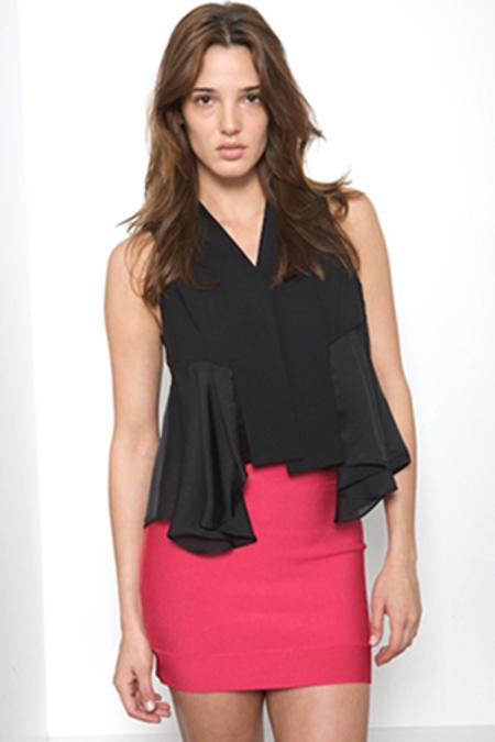 Alexander Wang Tropical Wool/Silk Combo Top - Black