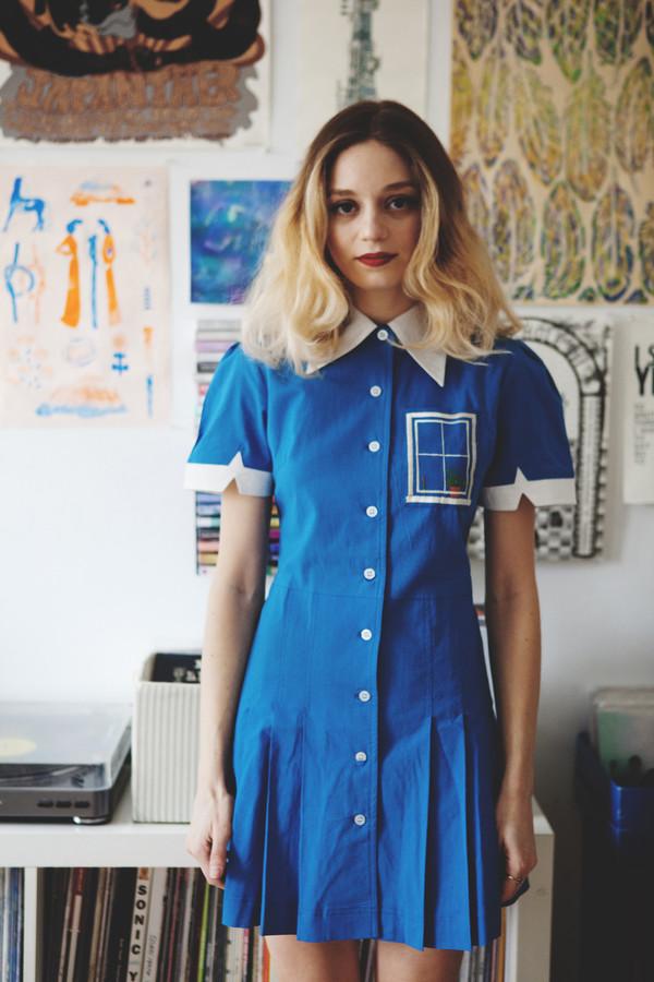 Samantha Pleet Window Dress - Blue