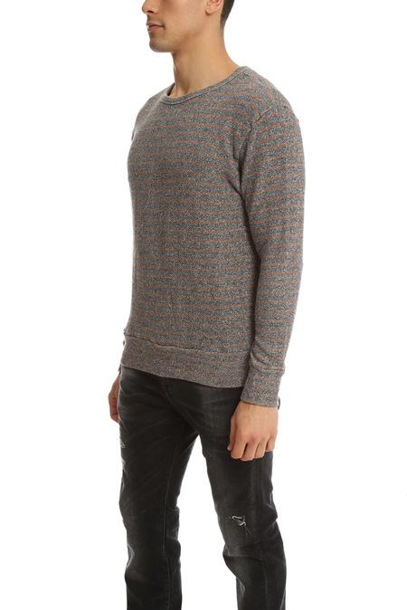 V::Room LS Stripe Crewneck Sweater - Charcoal/Brown