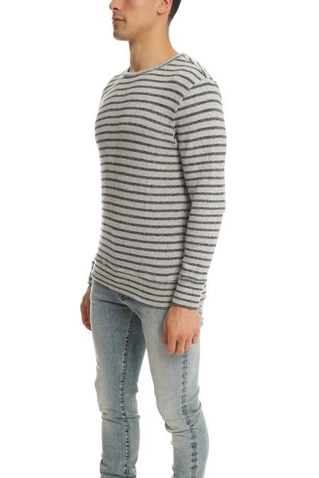 V::Room LS Striped Crewneck Sweater - Grey/Black