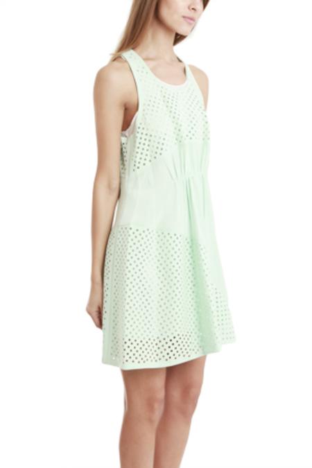 3.1 Phillip Lim Polka Dot Panels Gathered Front Dress - pale aqua/White