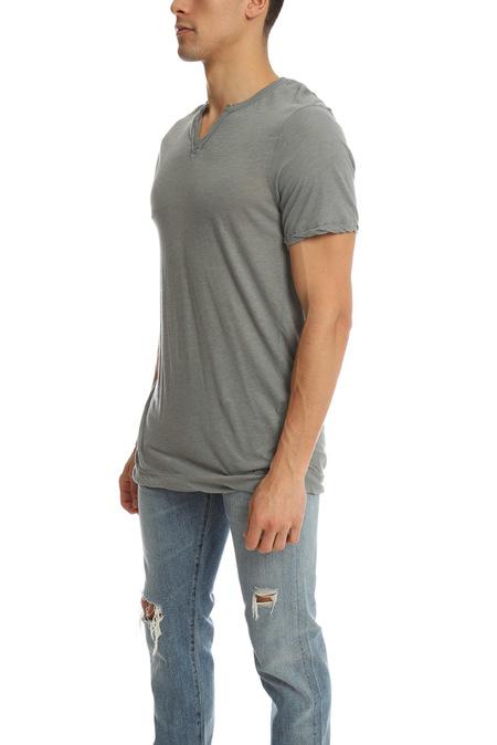 V::ROOM Slit Neck T-Shirt - Charcoal