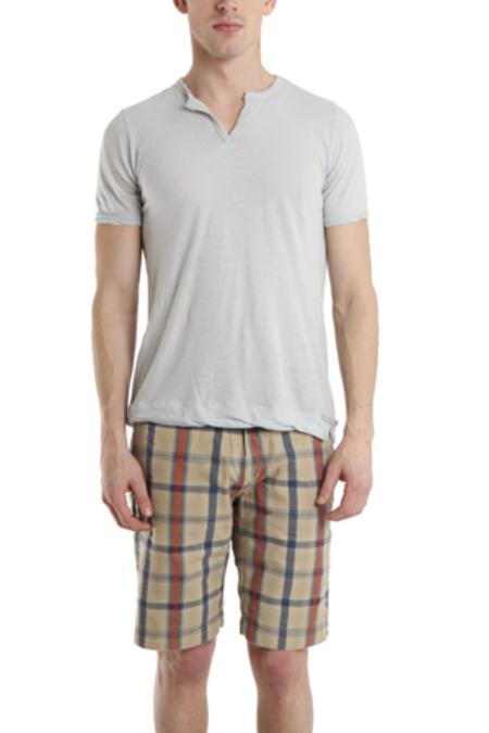V::ROOM Slit Neck T-Shirt - Pale Grey