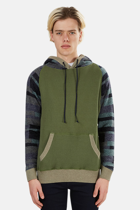 Blue&Cream Pullover Hoodie Sweater - Olive/Money Green Patchwork Arm