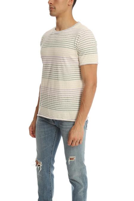 V::Room Loop Border Crewneck Tee Shirt - Natural/Pink