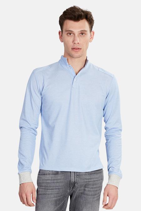 Blue&Cream Military Polo Top - Oxford Blue