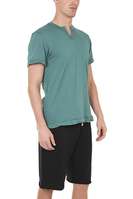 Alternative Apparel Split Neck T-Shirt - Viridian Green