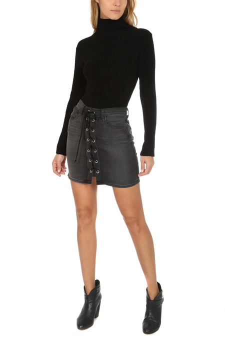 L'Agence Portia Front Lace Up Skirt - Vintage Black