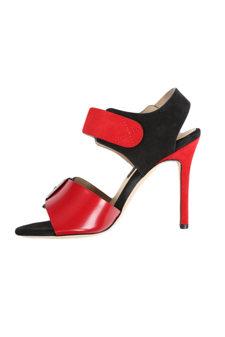 Chrissie Morris Ida Crystal Calf Shoes - Red/Black/White