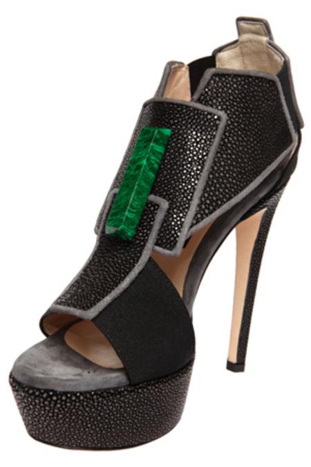 Chrissie Morris Cinzia Green Stone Shoes - Black Stingray