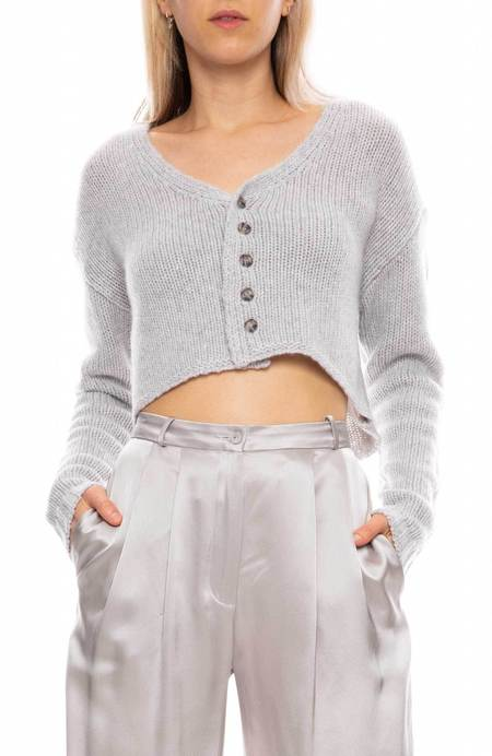 SABLYN Bianco Cropped Sweater - PEBBLE