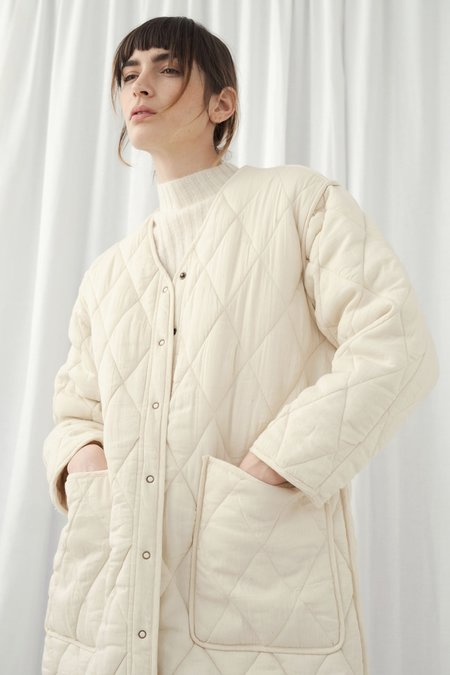 Micaela Greg Long Quilted Jacket - Cream