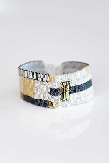 Stephanie Schneider Woven Silk/Silver And Gold Plated Bracelet