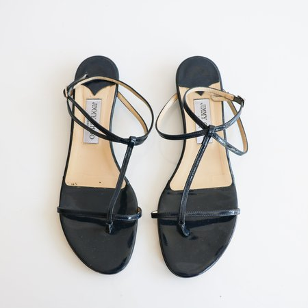 [Pre-loved] Jimmy Choo Patent Leather Sandals - Navy