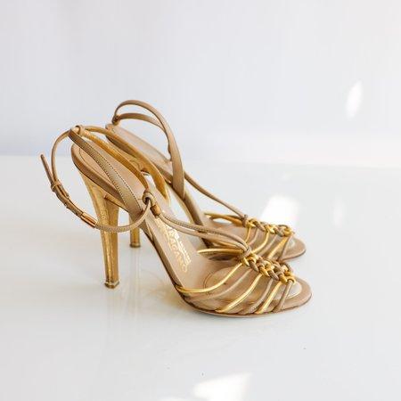 [Pre-loved] Salvatore Ferragamo Hammered Heel 8 Sandals - Taupe