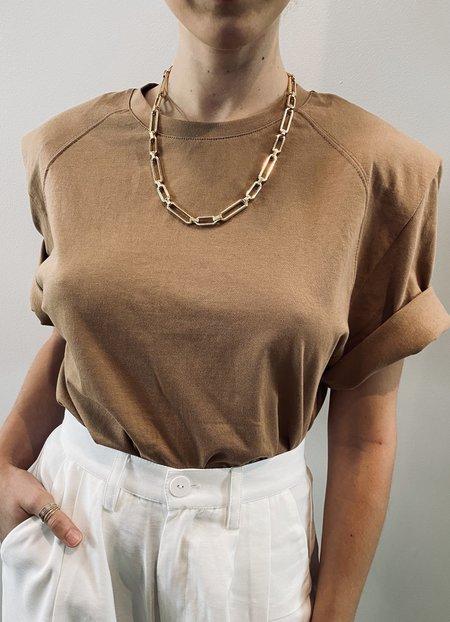 Frankie Shoulder pads tee - brown