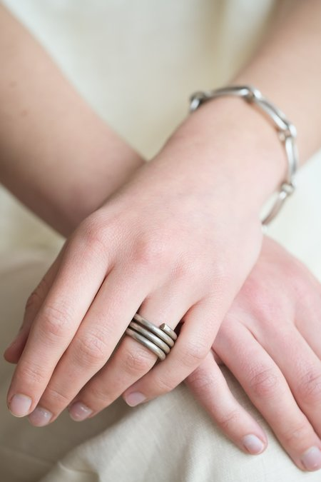Vintage SILVER COIL RING - Indian Silver