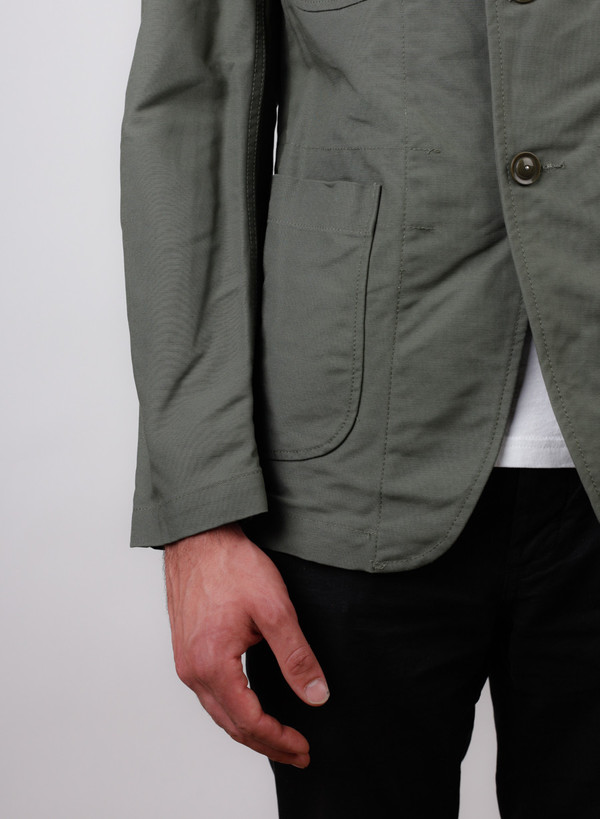 Men's Engineered Garments Bedford Jacket Olive Cotton Double Cloth