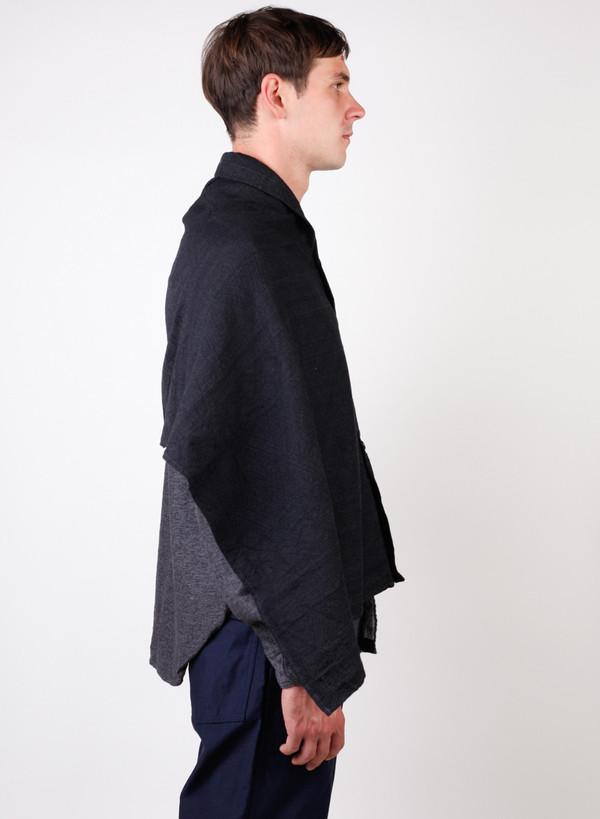 Engineered Garments Button Shawl Charcoal Wool Geo Jacquard
