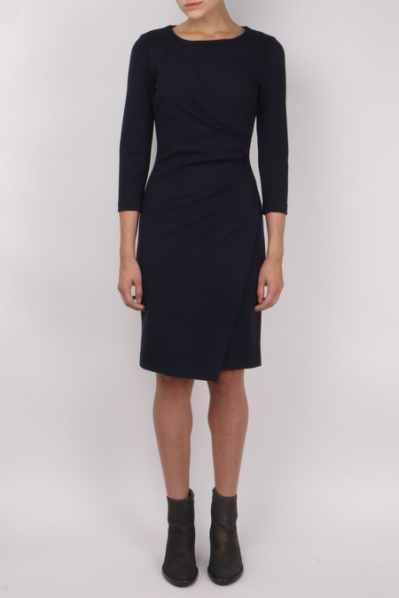 Peserico 3/4 Sleeve Front Drape Dress