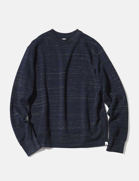 mocT Loopwheel Neon Script Sweatshirt - Navy Blue/Neon Yellow
