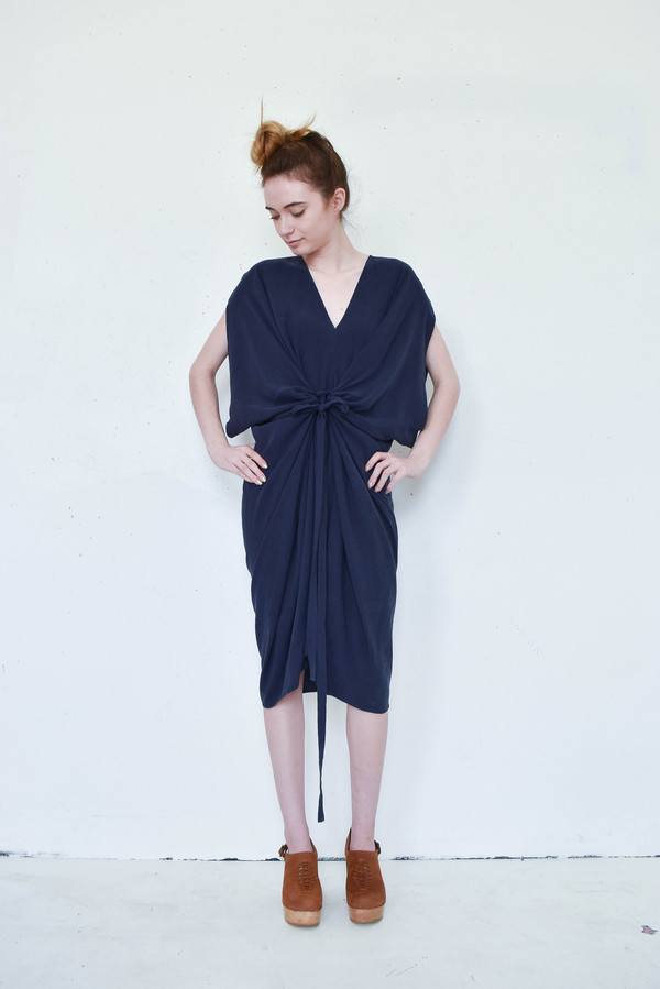 7115 By Szeki Signature Kimono Dress in Navy