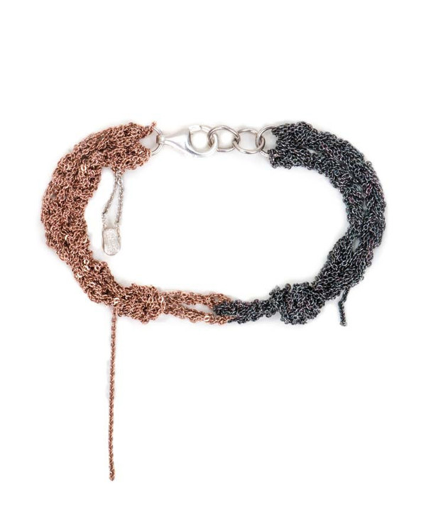 Arielle De Pinto Siamese Bracelet in Rose Gold & Midnight Sterling Silver