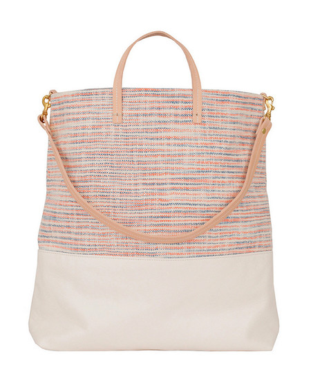 Clare V. White Leather and Canvas Woven Matilde Tote