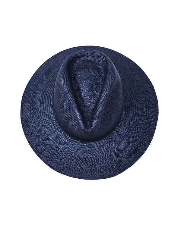 Clyde Panama Pinch Hat in Navy Straw