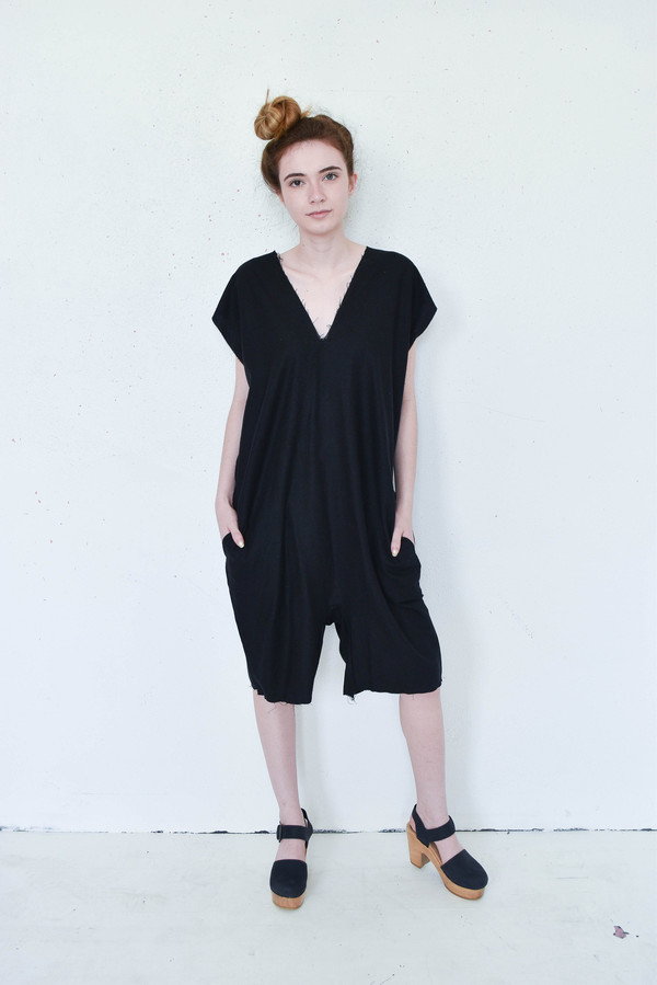 Evens Harem Jumper in Black Raw Silk