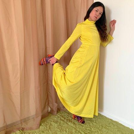 Vintage Kintsugi Polka Dot Dress - Yellow