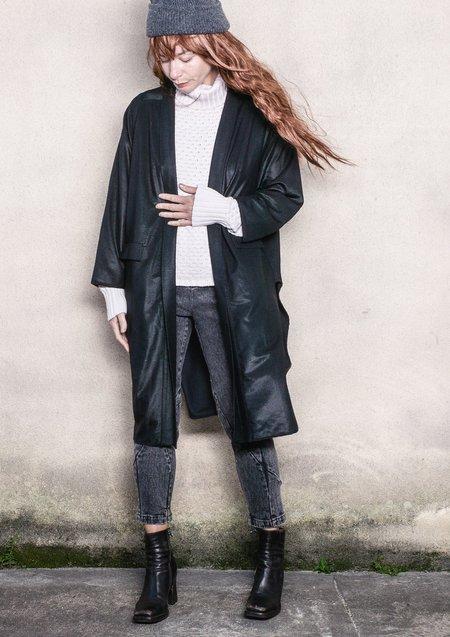 Berenik Techlaces Long Cardigan - Black Shiny