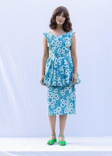 Vintage Floral Peplum 50's Dress - Blue