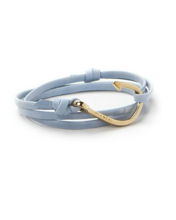 Miansai Gold Fish Hook And Sky Blue Leather Wrap Bracelet