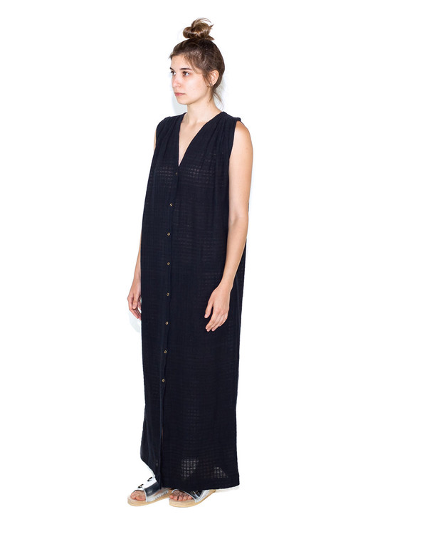 Mirth Caftans Eze Caftan in Black Boxweave