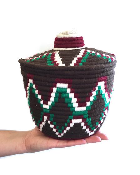 Found Moroccan Bread Basket in Brown Geometric