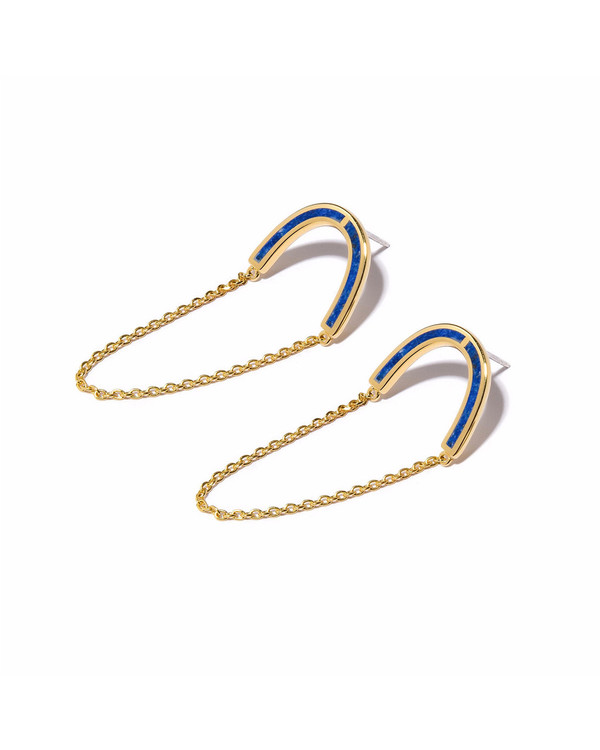 Pamela Love Gold Inlay Jetty Earrings with Lapis