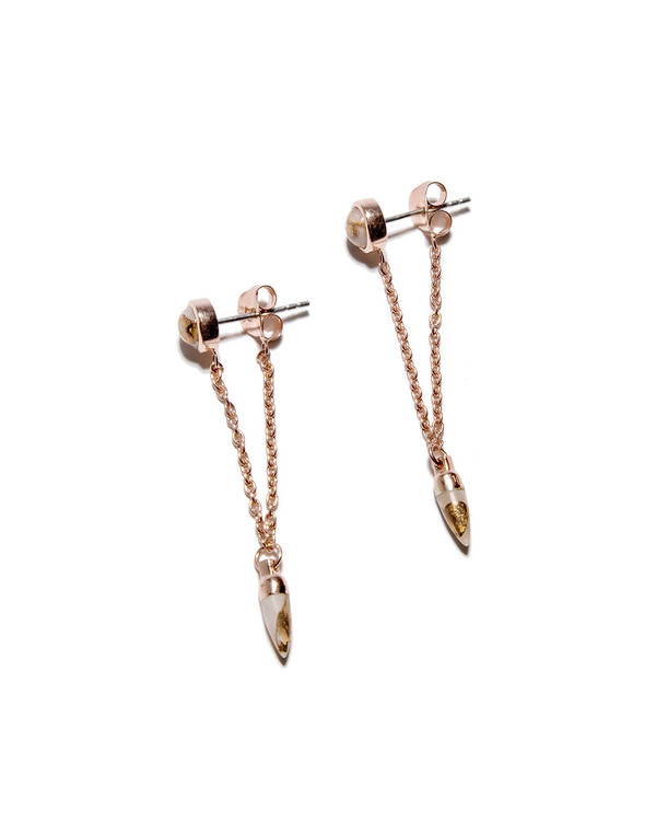 Pamela Love Rose Gold Pendulum Chain Studs with Bronze Calcite