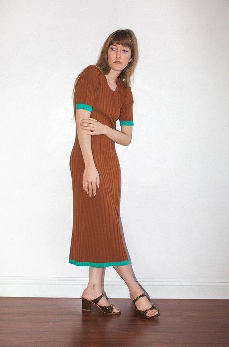 No.6 Jasper Ribbed Dress - Tobacco