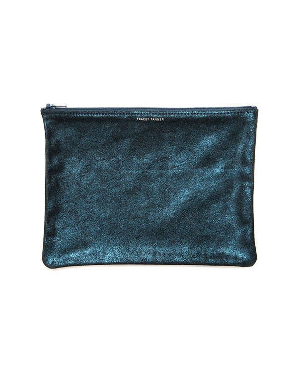 Tracey Tanner Large Flat Zip Pouch in Midnight Sparkle