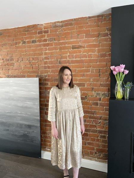 Ms MIN Jacquard Loose Print Dress - Light Khaki