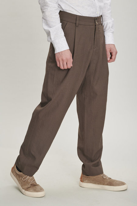 Unisex Delikatessen Merino Wool Trousers - Olive Brown