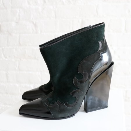 [Pre-loved] Sergio Rossi Western Ankle Boots - Black/Green