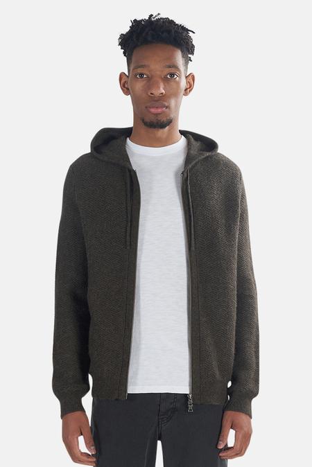 Vince Zip Up Alpaca Hoodie Sweater - Olive