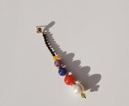 Luiny Mondrian Single Earrings - Brass/Silver