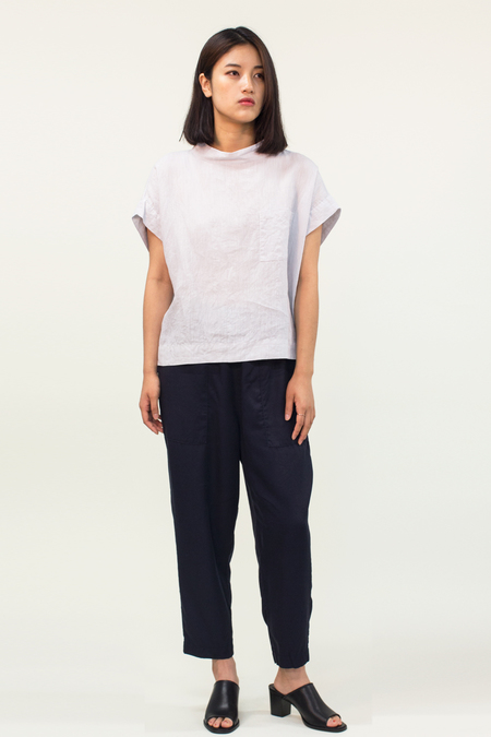 Japanese Minimal French Linen Top- Light Grey