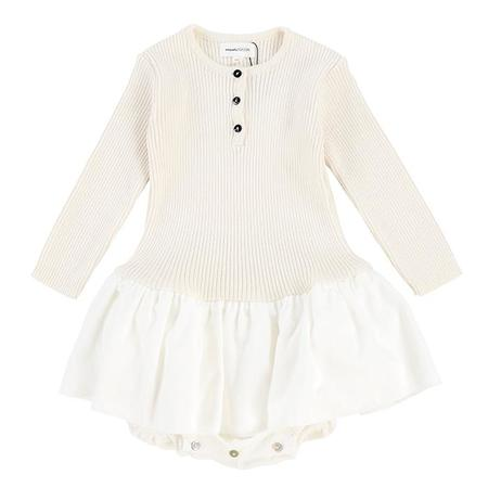 kids Pequeno Tocon Baby Velvet Ribed Knit Top Tutu Dress - Natural Cream