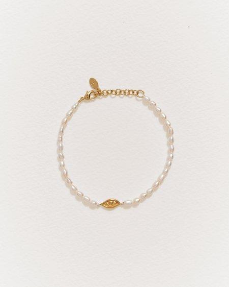 Pamela Love Beaded Eye Bracelet - Gold Plate