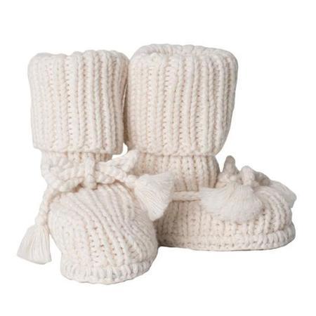 Kids Tane Organics Socks Booties with Ties - Ecru Cream