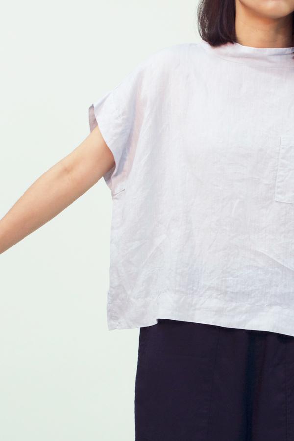 Japanese Minimal French Linen Top- Light Grey